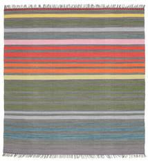 Rainbow Stripe - Grå Matta 200X200 Äkta Modern Handvävd Kvadratisk Mörkgrå/Ljusgrå (Bomull, Indien)