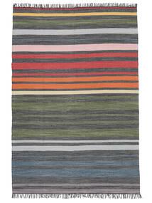 Rainbow Stripe - Grå Matta 140X200 Äkta Modern Handvävd Mörkgrå/Olivgrön (Bomull, Indien)