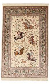 Ghom Silke Signerad: Sharifi Matta 130X200 Äkta Orientalisk Handknuten Beige/Brun (Silke, Persien/Iran)