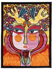 She Has Flowers In Her Hair Matta 100X130 Modern Svart/Orange ( Turkiet)
