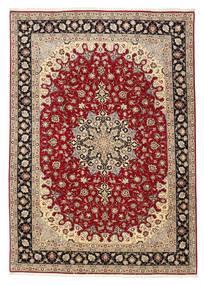 Tabriz 50 Raj Matta 201X299 Äkta Orientalisk Handknuten Mörkröd/Ljusbrun (Ull/Silke, Persien/Iran)