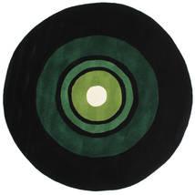 Schallplatte Handtufted Matta Ø 150 Modern Rund Mörkgrön (Ull, Indien)