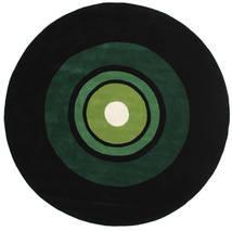 Schallplatte Handtufted Matta Ø 250 Modern Rund Mörkgrön Stor (Ull, Indien)