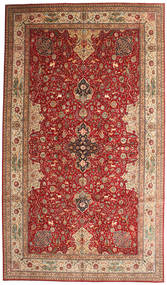 Tabriz 50 Raj Signerad Torabi Matta 378X660 Äkta Orientalisk Handknuten Mörkröd/Brun Stor (Ull/Silke, Persien/Iran)