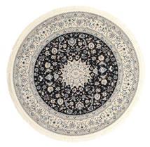 Nain Emilia - Mörkblå Matta Ø 150 Orientalisk Rund Ljusgrå/Beige ( Turkiet)
