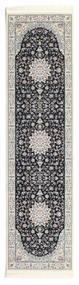 Nain Emilia - Mörkblå Matta 80X300 Orientalisk Hallmatta Ljusgrå/Mörkgrå ( Turkiet)