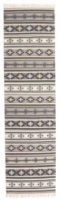 Kelim Cizre Matta 80X300 Äkta Modern Handvävd Hallmatta Ljusgrå/Beige (Ull, Indien)