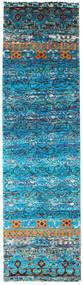Quito - Turkos Matta 80X300 Äkta Modern Handknuten Hallmatta Turkosblå/Blå (Silke, Indien)