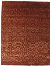 Damask Matta 242X317 Äkta Modern Handknuten Mörkröd/Mörkbrun ( Indien)