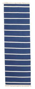 Dorri Stripe - Mörkblå Matta 80X300 Äkta Modern Handvävd Hallmatta Blå/Beige (Ull, Indien)