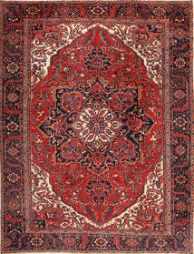 Heriz Matta 292X380 Äkta Orientalisk Handknuten Mörkröd/Svart Stor (Ull, Persien/Iran)