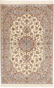 Isfahan Silkesvarp Davudi Matta 130X202 Äkta Orientalisk Handknuten Beige/Ljusgrå (Ull/Silke, Persien/Iran)