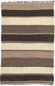 Kelim Matta 80X122 Äkta Orientalisk Handvävd Mörkbrun/Beige (Ull, Persien/Iran)