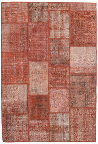 Patchwork Matta 138X202 Äkta Modern Handknuten Mörkröd/Ljusrosa (Ull, Turkiet)