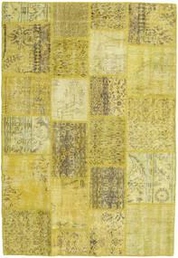Patchwork Matta 138X202 Äkta Modern Handknuten Gul/Olivgrön (Ull, Turkiet)