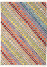 Spring Kelim Matta 210X290 Äkta Modern Handvävd Ljusgrå/Mörkbeige (Ull, Indien)