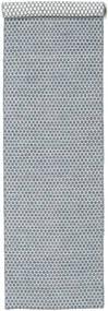 Kelim Honey Comb - Blå Matta 80X340 Äkta Modern Handvävd Hallmatta Ljusgrå/Ljusblå (Ull, Indien)