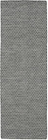 Kelim Honey Comb - Svart/Grå Matta 80X240 Äkta Modern Handvävd Hallmatta Ljusgrå/Mörkgrå (Ull, Indien)