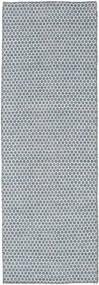 Kelim Honey Comb - Blå Matta 80X240 Äkta Modern Handvävd Hallmatta Ljusblå/Ljusgrå (Ull, Indien)