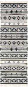 Kelim Cizre Matta 80X250 Äkta Modern Handvävd Hallmatta Ljusgrå/Mörkgrå (Ull, Indien)
