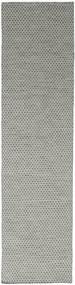 Kelim Honey Comb - Grå Matta 80X340 Äkta Modern Handvävd Hallmatta Ljusgrå/Mörkgrå (Ull, Indien)