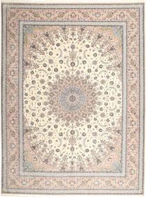 Isfahan Silkesvarp Matta 315X420 Äkta Orientalisk Handknuten Ljusgrå/Beige Stor (Ull/Silke, Persien/Iran)