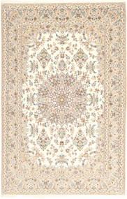 Isfahan Silkesvarp Matta 157X240 Äkta Orientalisk Handknuten Beige/Ljusgrå (Ull/Silke, Persien/Iran)