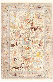 Ghom Silke Matta 140X211 Äkta Orientalisk Handknuten Beige/Ljusrosa (Silke, Persien/Iran)