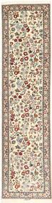 Isfahan Silkesvarp Matta 75X315 Äkta Orientalisk Handknuten Hallmatta Beige/Ljusgrå (Ull/Silke, Persien/Iran)