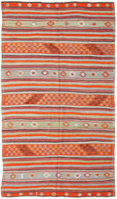 Kelim Turkisk Matta 157X277 Äkta Orientalisk Handvävd Roströd/Ljusgrå (Ull, Turkiet)