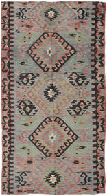Kelim Turkisk Matta 153X292 Äkta Orientalisk Handvävd Mörkgrå/Brun (Ull, Turkiet)