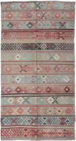 Kelim Turkisk Matta 146X288 Äkta Orientalisk Handvävd Mörkgrå/Ljusgrå (Ull, Turkiet)