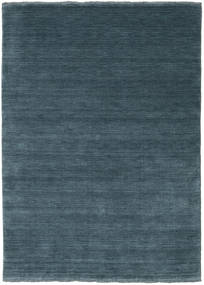 Handloom Fringes - Petrolblå Matta 140X200 Modern Blå/Mörkblå (Ull, Indien)