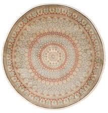 Kashmir Äkta Silke Matta Ø 248 Äkta Orientalisk Handknuten Rund Beige/Ljusgrå (Silke, Indien)