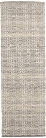 Alva - Brun/Vit Matta 80X250 Äkta Modern Handvävd Hallmatta Ljusgrå/Beige (Ull, Indien)