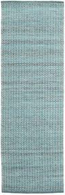 Alva - Turkos/Vit Matta 80X250 Äkta Modern Handvävd Hallmatta Ljusblå/Mörk Turkos (Ull, Indien)