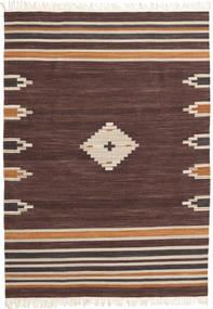 Tribal - Brun Matta 160X230 Äkta Modern Handvävd Mörkbrun/Mörkröd (Ull, Indien)