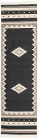 Tribal - Svart Matta 80X300 Äkta Modern Handvävd Hallmatta Svart/Ljusgrå (Ull, Indien)
