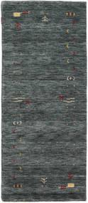 Gabbeh Loom Frame - Mörkgrå/Grön Matta 80X200 Modern Hallmatta Mörkgrå/Mörkgrön (Ull, Indien)