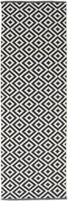 Torun - Svart/Neutral Matta 80X300 Äkta Modern Handvävd Hallmatta Svart/Ljusgrå (Bomull, Indien)