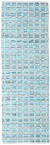 Elna - Bright_Blue Matta 80X250 Äkta Modern Handvävd Hallmatta Ljusblå/Turkosblå (Bomull, Indien)