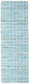 Elna - Bright_Blue Matta 80X350 Äkta Modern Handvävd Hallmatta Ljusblå/Turkosblå (Bomull, Indien)