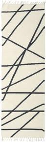 Cross Lines - Naturvit/Svart Matta 80X250 Äkta Modern Handvävd Hallmatta Beige/Mörkgrå (Ull, Indien)