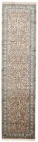 Kashmir Äkta Silke Matta 79X311 Äkta Orientalisk Handknuten Hallmatta Ljusgrå/Mörkgrå (Silke, Indien)