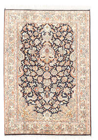 Kashmir Äkta Silke Matta 65X93 Äkta Orientalisk Handknuten Vit/Cremefärgad/Mörkgrå (Silke, Indien)