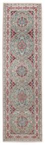 Nain 9La Matta 82X292 Äkta Orientalisk Handknuten Hallmatta Ljusgrå/Mörkgrå (Ull/Silke, Persien/Iran)
