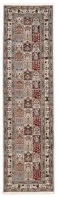 Moud Sherkat Farsh Matta 80X300 Äkta Orientalisk Handknuten Hallmatta Ljusgrå/Beige (Ull/Silke, Persien/Iran)