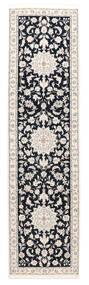Nain 9La Sherkat Farsh Matta 75X305 Äkta Orientalisk Handknuten Hallmatta Ljusgrå/Svart (Ull/Silke, Persien/Iran)