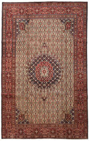 Moud Matta 201X321 Äkta Orientalisk Handknuten Mörkbrun/Mörkröd (Ull/Silke, Persien/Iran)