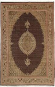 Tabriz 50 Raj Matta 202X311 Äkta Orientalisk Handvävd Brun/Ljusbrun (Ull/Silke, Persien/Iran)